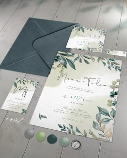 Convite de Casamento Folhagens